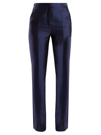 slit silk navy pants