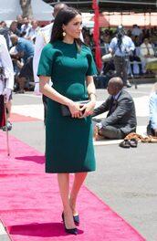 dress,midi dress,green,dark green dress,meghan markle