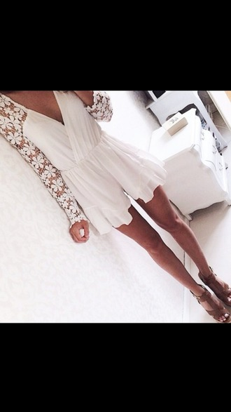 romper white romper lacey sleeves lace sleeves lace romper white gorgeous pretty
