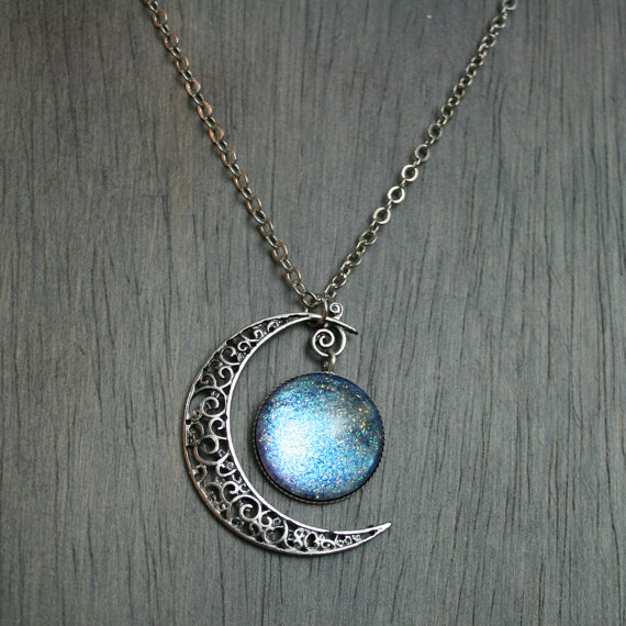 Aurora Moonlight Antique Silver Necklace by moonlightmine on Etsy