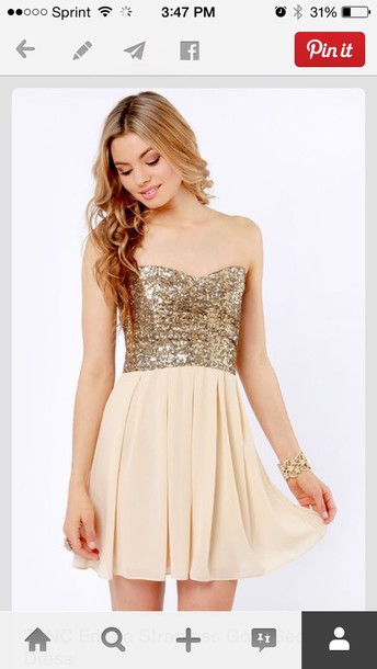 dress sweet 16 homecoming dress gold homecoming short homecoming dress sparkly torso cream gold sequins flowy strapless cute dress sparkly dress sequin dress party dress