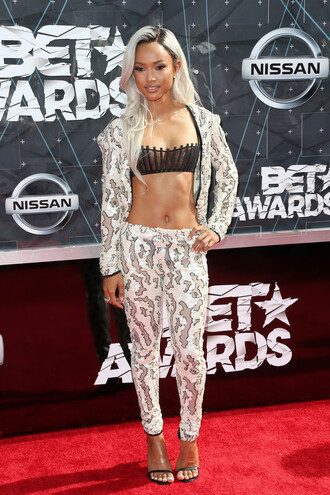 pants top karrueche bet awards blazer suit two-piece bra jacket underwear