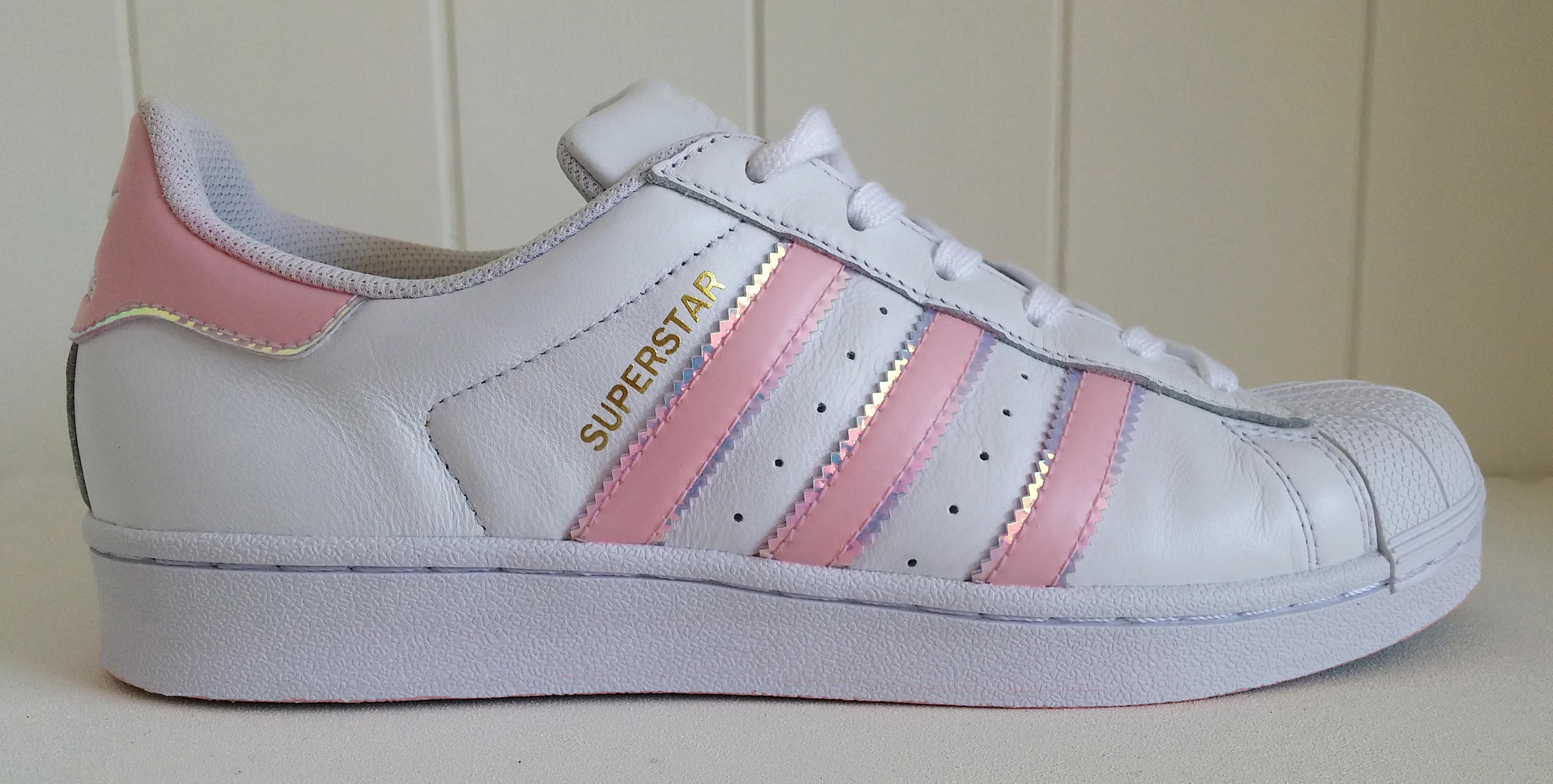 Unicorn Adidas white pink iridescent sneakers