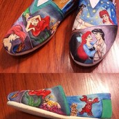 shoes,the little mermaid,painted canvas shoes,cartoon