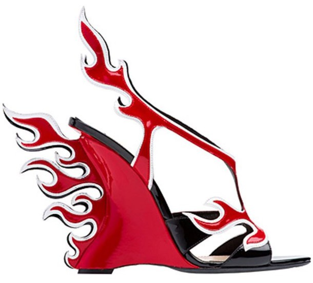 shoes, wedge sandals, flames, flame