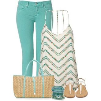 tank top shirt pants aqua beach bag fashionable sandals braclets spaghetti strap shirt