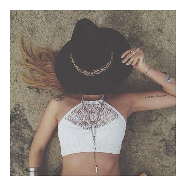 top halter neck crochet knit boho hippie