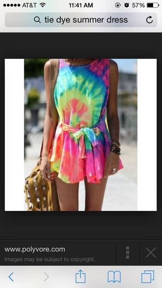 dress neon colors tie dye colorful bright neon dress tie dye dress