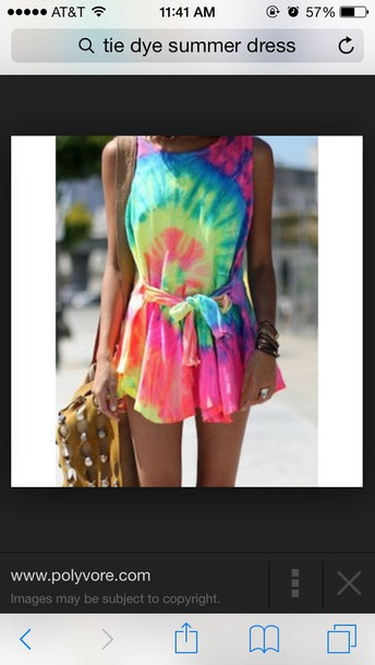 dress neon color/pattern tie dye colorful bright neon dress tie dye dress