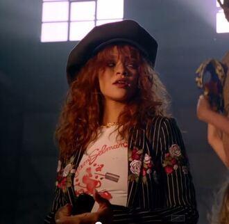 top hat t-shirt rihanna music video blazer