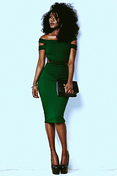 dress formal green bodycon