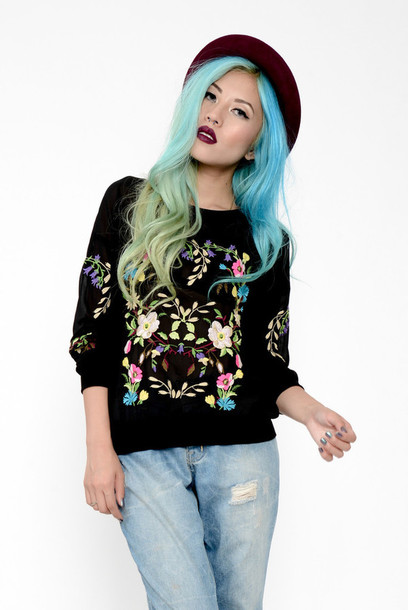 sweater minty jungle embroidered ethnic floral