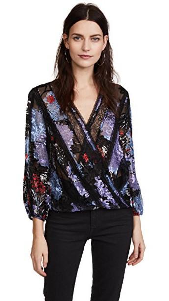 alice + olivia blouse cross top