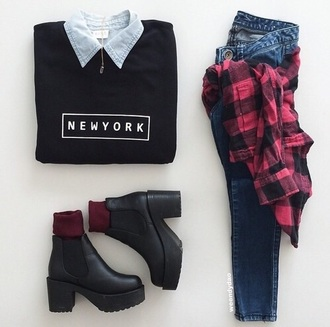 jeans new york red black red shirt shoes shirt sweater