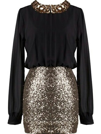 dress black sequins sequin dress long sleeves new year's eve glitter dress glitter