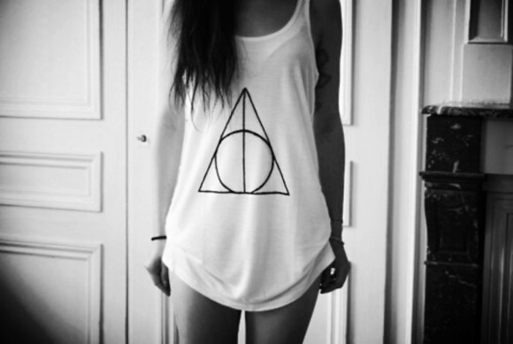 printed tee t-shirt tank top shirt black and white shaved to the side harry potter