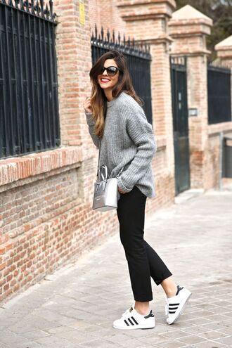 shoes oversized grey sweater black trousers sunglasses white sneakers blogger