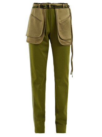 silk dark green pants
