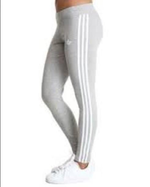 leggings adidas leggings logo grey and white adidas small symbol stripes
