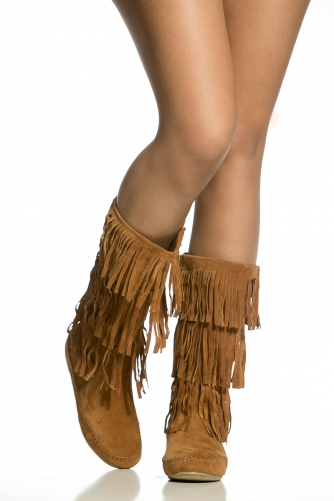 Faux Suede Fringe Calf Length Boots @ Cicihot Boots Catalog ...