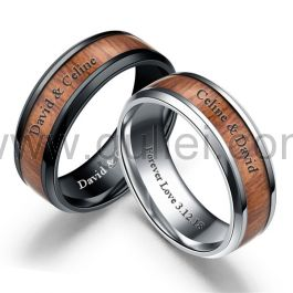 Very Unique Wood Titanium Soulmate Rings with Engraving