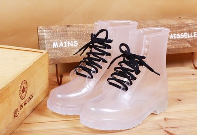 Online shop crystal jelly candy color flat martin rainboots fashion transparent perspective women's rain boots water shoes