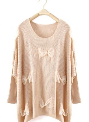 Beige sweet round neck sweater