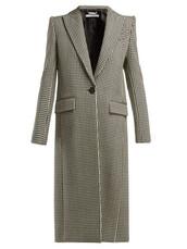 coat,wool coat,white,black,wool,houndstooth
