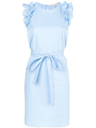 dress ruffle women spandex cotton blue