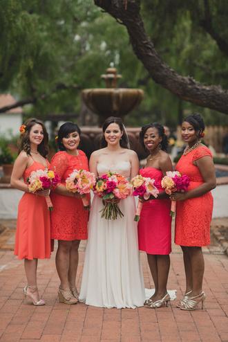 ruffled blog blogger orange dress wedding dress wedding clothes wedding hairstyles strapless dress mini dress silver shoes