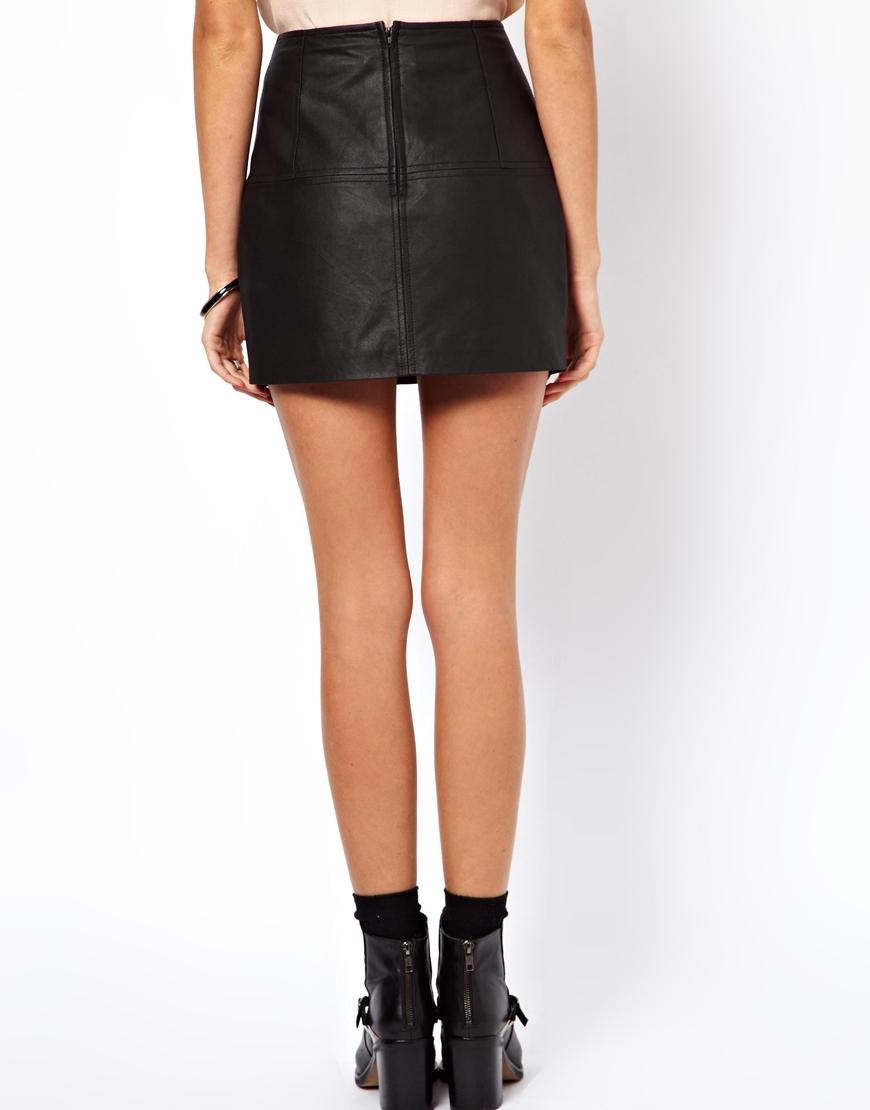 ASOS Mini Skirt in Leather at asos.com