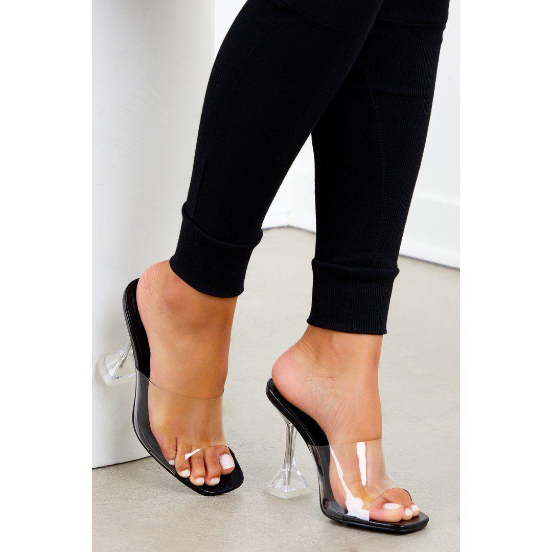 Black Clear Square Toe Heel