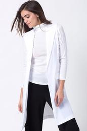 coat,white-lapel-neck-front-pocket-coat-vest,white coat,vest coat,fashion