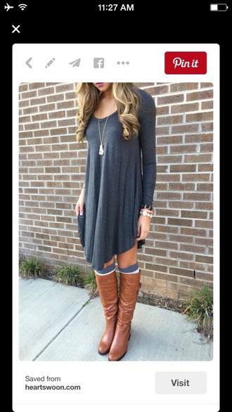 dress grey dress dress v lining long sleeve dress swing dress