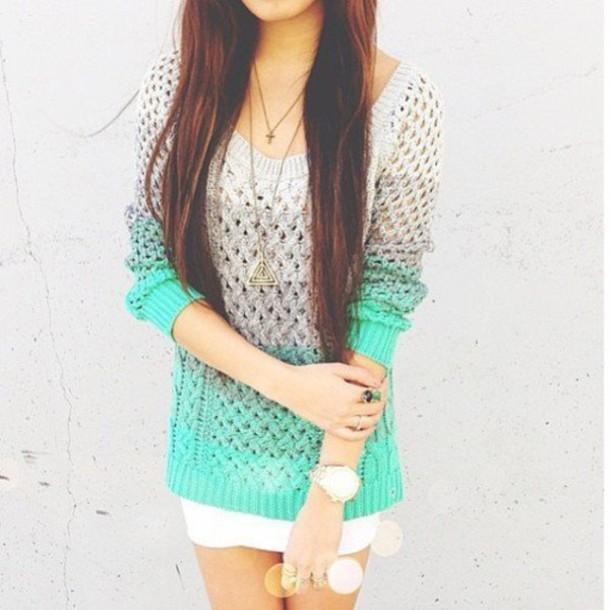 sweater, shirt, top, green, aqua, grey, knit, girl, winter