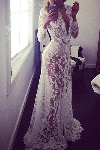 dress lace maxi see through sexy romantic summer dress beautiful fashion style zaful lace dress white lace dress long white lace dress long dress white long dress long sleeve dress white long sleeve dress