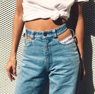 jeans high waisted jeans mom jeans cut-out tie-front top calvin klein underwear