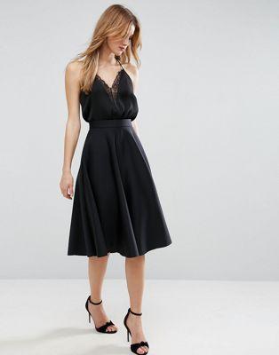 ASOS High Waisted Full Circle Scuba Prom Skirt at asos.com