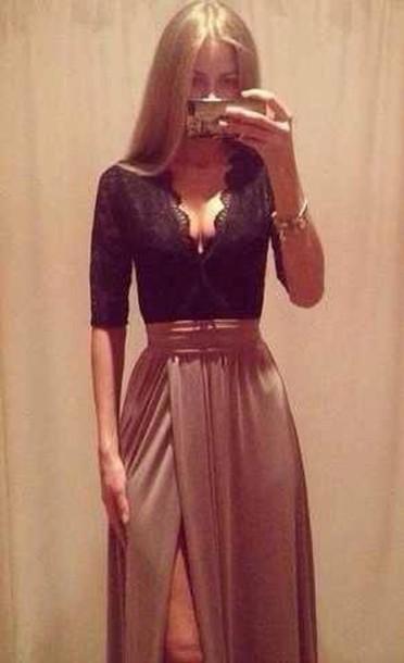 Dress Shirt Lace Top Maxi Skirt Maxi Dress Long