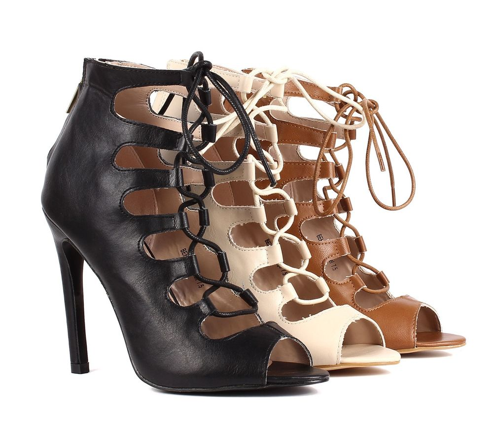 3 color lace up back zipper open toe dress high heel sandals womens casual shoes