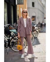 pants,flare pants,sneakers,mini bag,blazer,white top,sunglasses