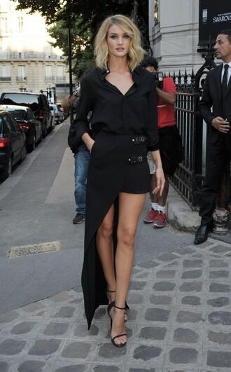 shirt skirt asymmetrical skirt asymmetrical rosie huntington-whiteley sandals