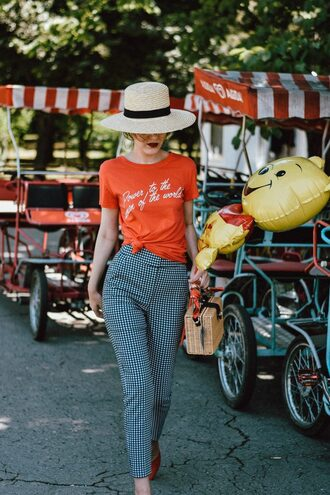 pants hat tumblr gingham t-shirt red t-shirt sun hat bag basket bag