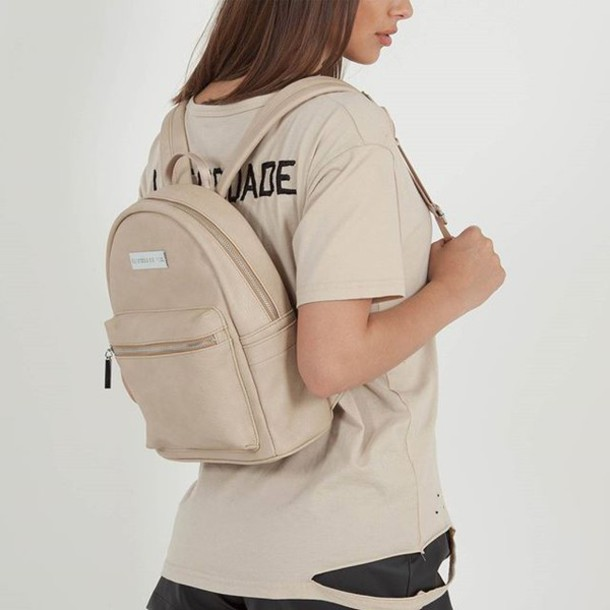 bag maniere de voir backpack beige leather mini backpack fashion  accessories style trendy 68e7828ac5824