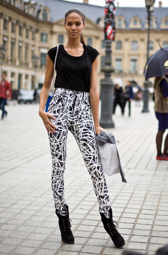 pants white black high waisted pants hand painted jeans vue boutique