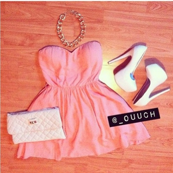 dress fashion style girl pink heels high heels bag shoes pink dress shorts bustier mini dress