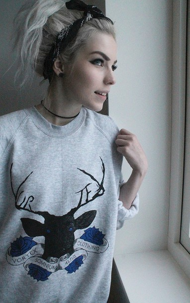 sweater vortex tumblr shirt tumblr sweater swag rad cool style grey sweater graphic sweater deer antlers hipster holiday season hair accessory
