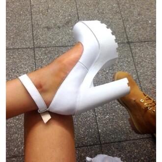 white heels trendy chunky sole chunky heels timberlands tumblr
