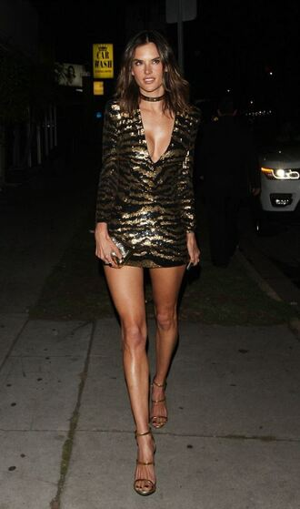 dress mini dress sequin dress sequins alessandra ambrosio sandals sexy dress bodycon dress plunge v neck plunge dress