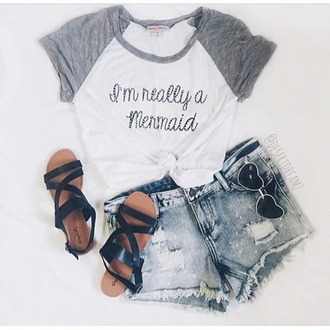 blouse grise shirt i'm really a mermaid short sleeve t-shirt white top